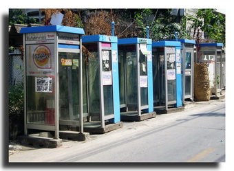 Numerous telephone booths on main street